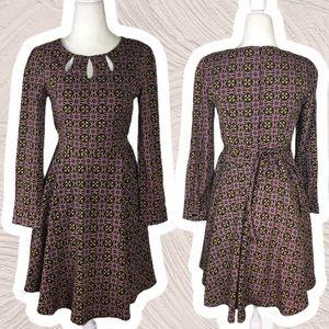 Revival Retro Style Keyhole Geometric Midi Dress